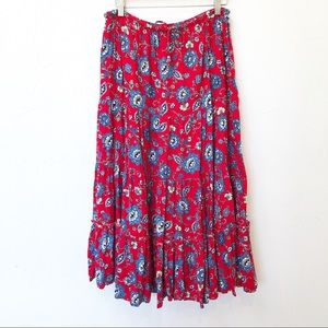 White Stag Sz Medium Maxi Tiered Skirt